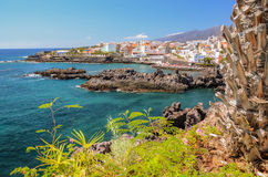Picturesque beach and volcanic rocks in Alcala on Tenerife Royalty Free Stock Photo