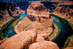Picturesque bend of the Colorado River. Sighting place on the edge of the cliff, near the town of Page, Arizona Stock Photos
