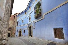Picturesque blue facade house in Albarracin. Spain Royalty Free Stock Photo