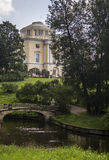 Picturesque bridge with centaurs and Palace, Pavlovsk park, subu Stock Image