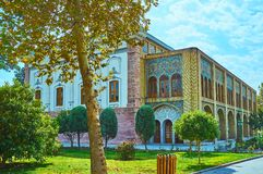 Ethnological museum of Golestan, Tehran. The picturesque building of Abyaz Palace located among the scenic shady gardens of Golestan, Tehran, Iran royalty free stock photos