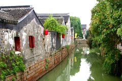 Picturesque canal street in the rustic water town Suzhou, China Royalty Free Stock Image