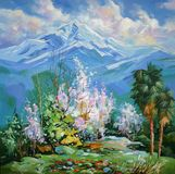 Flowering quince on a background of snowy peaks. Artistic work in bright and juicy tones. Author: Nikolay Sivenkov. royalty free illustration