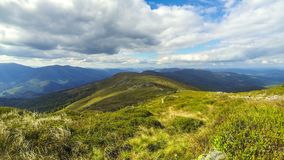 Picturesque Carpathian mountains landscape. Picturesque landscape of Carpathian mountains in early autumn. View from mount Pikui 1405m. Mount Zelemenyi 1304m on stock footage