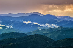 Picturesque Carpathian mountains landscape, view of the mountain ridges, Ukraine. Picturesque Carpathian mountains landscape, view of the mountain ridges royalty free stock photo