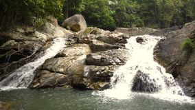 Picturesque Cascade Waterfall in Lush Jungles of Samui Island, Thailiand. 4k UHD stock footage