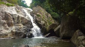 Picturesque Cascade Waterfall in Lush Jungles of Samui Island, Thailiand. 4k UHD stock video footage