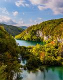 Picturesque cascading lakes with azure water among the high hills. Autumn trip to Croatia. The concept of ecological and active stock photography
