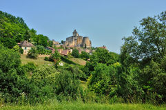 Picturesque castle of Castelnaud in Dordogne Stock Photos