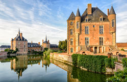 Picturesque castle on the lake in the Loire Valley Royalty Free Stock Images