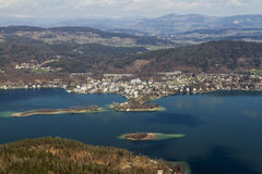 Picturesque central part of Woerthersee lake Stock Photo