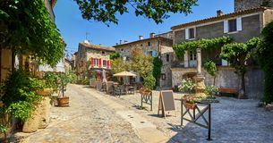Picturesque Central Square of Aigueze Occitanie France on A Sunny Day stock image