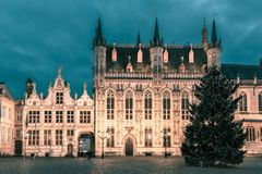Picturesque Christmas Burg Square in Bruges Royalty Free Stock Photo