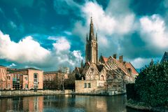 The picturesque city landscape in Bruges, Belgium Stock Photography