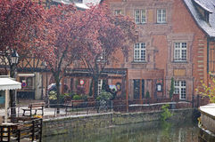 Picturesque city view during the rain. Colmar, France Royalty Free Stock Images