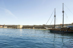 Picturesque cityscape of old town Rhodes. Beautiful old ship Royalty Free Stock Photos