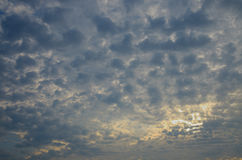 Picturesque cloudy sky at dawn stock photo
