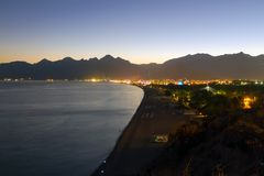 Sea coast of Antalya, Turkey. The picturesque coast of Antalya, Turkey, in the evening time Stock Image