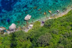 Picturesque coast of Capri island, top view