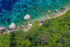 Picturesque coast of Capri island, top view