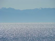 The picturesque coast of the freshwater lake Baikal. stock photo