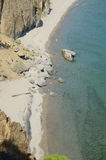 The picturesque coastline of Sandy Bay. Western coast of Lake Baikal. Top view Stock Photography