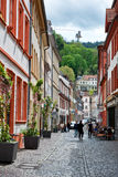 Picturesque Cobblestone Heidelberg Street Stock Photos
