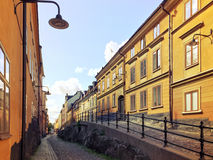 Picturesque cobblestone street in Stockholm Royalty Free Stock Images