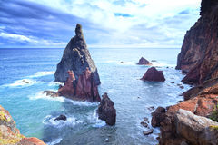 Picturesque colorful cliffs and islands. The eastern tip of the island of Madeira Royalty Free Stock Image