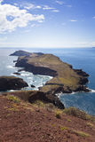 Picturesque colorful cliffs and islands. The eastern tip of the island of Madeira Royalty Free Stock Photo