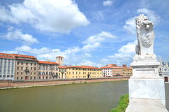 Picturesque colorful historic buildings along Arno river in Pisa, Italy Royalty Free Stock Photography