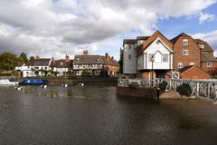 Picturesque Gloucestershire - Tewkesbury. A picturesque corner by Abbey Mill in the town of Tewkesbury, Gloucestershire, Severn Vale, UK Stock Photo