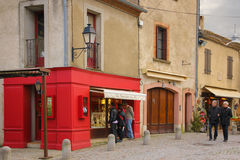 Picturesque corner in the citadel. Carcassonne. France. Picturesque corner in the citadel. Rue du Plo.  La Boutique Du Plo. Carcassonne. France Royalty Free Stock Photo
