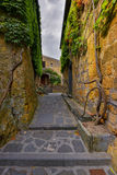 Picturesque corner of a quaint hill town in Italy. Bagnoregio town, Lazio, Italy Royalty Free Stock Image