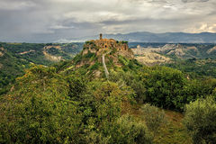 Picturesque corner of a quaint hill town in Italy. Bagnoregio town, Lazio, Italy Royalty Free Stock Photo