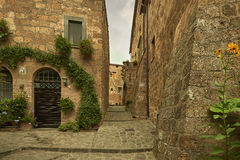 Picturesque corner of a quaint hill town in Italy. Bagnoregio town, Lazio, Italy Royalty Free Stock Images