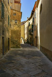 Picturesque corner of a quaint hill town in Italy, Pienza, Tuscany, Italy Stock Images