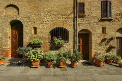 Picturesque corner of a quaint hill town in Italy, Pienza, Tuscany, Italy Royalty Free Stock Photography