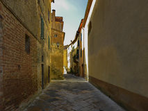 Picturesque corner of a quaint hill town in Italy, Pienza, Tuscany, Italy Stock Photos