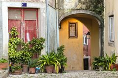 Picturesque corner in Sintra. Portugal. Picturesque alley with plant pots, and colorful doors and windows in Sintra. Portugal Royalty Free Stock Photos