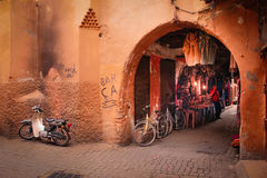 Picturesque corner in the souk. Marrakesh. Morocco Royalty Free Stock Photography