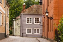 Picturesque corner. Vadstena. Sweden. Picturesque and  colorful old  buildings. Vadstena. Sweden Stock Photos