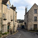 Picturesque Cotswolds - Painswick. Winter sunshine on the picturesque old Cotswold village streets of Painswick, Gloucestershire, UK stock photos