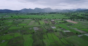 Picturesque countryside landscape panorama with view of green field and mountains on rainy day in Thailand stock footage