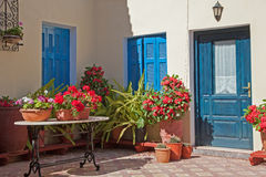 Picturesque courtyard in a greek village. On the island of Karpathos Stock Image