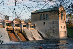 Picturesque dam. Scenic view of hydro-electric dam on Huron River in Ann Arbor Royalty Free Stock Images