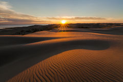 Picturesque desert landscape with a golden sunset royalty free stock photo