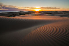 Picturesque desert landscape with a golden sunset. Over the dunes Royalty Free Stock Images