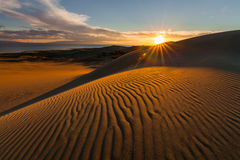 Picturesque desert landscape with a golden sunset over the dunes Royalty Free Stock Images