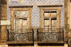 Picturesque dilapidated balconies.Porto. Portugal Stock Photo